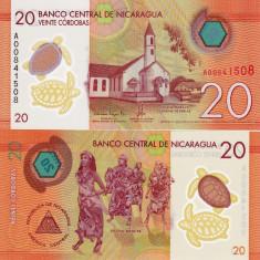 NICARAGUA 20 cordobas 2014 (2015) polymer UNC!!! - bancnota america