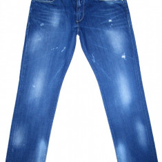 (Made in Italy) ENERGIE - (MARIME: 36 x 32) - Talie = 99 CM, Lungime = 111, 5 CM - Blugi barbati Energie, Culoare: Albastru, Cu rupturi, Drepti, Normal