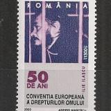 Romania.2000 50 ani Conventia drepturilor omului HR.394 - Timbre Romania, Nestampilat
