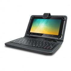 Husa Tableta 8 Inch Cu Tastatura Micro Usb Model X, Negru, Tip Mapa C7 - Husa tableta cu tastatura, Universal