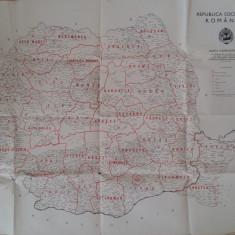 HARTA ROMANIEI - 1968 - ORGANIZAREA ADMINISTRATIV TERITORIALA PE JUDETE
