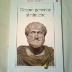 DESPRE GENERARE SI NIMICIRE - TRATAT  ~ ARISTOTEL