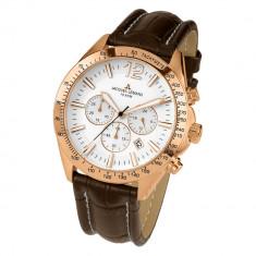 Ceas Jacques Lemans, chronograph, placat cu aur - Ceas barbatesc Jacques Lemans, Elegant, Quartz, Piele, Cronograf