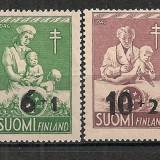 FINLANDA 1946 – CAMPANIA IMPOTRIVA TUBERCULOZEI, serie MNH cu SUPRATIPAR D320, Nestampilat
