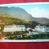 Ilustrata color Sinaia - Cazinoul si Palace Hotel, interbelica - Carte Postala Muntenia dupa 1918, Necirculata, Printata