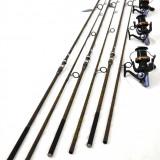 Set 4 Lansete FL Pokee F1 Carp 3.90M Cu Mulinete Ultra Long Cast 15 rulm