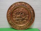 Mare  METALOPLASTIE in CUPRU  cu SCENE de VANATOARE  CALARE , marcata , ENGLAND