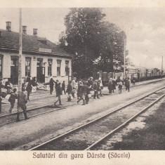 GARA DARSTE, SALUTARI DIN GARA DARSTE (SACELE) TREN, CIRCULATA AUG.1927 - Carte postala tematica, Printata