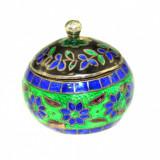 Cutiuta argint retro decorata email motive orientale, miniatura pill box vintage