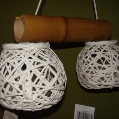 Lustra candelabru unicat nou bambus doua becuri - Corp de iluminat, Lustre