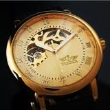 Ceas Superb WINNER MECANIC FULL Automatic Skeleton Barbati Auriu Argintiu Negru - Ceas barbatesc, Lux - elegant, Mecanic-Automatic, Inox, Piele ecologica, Calendar perpetuu