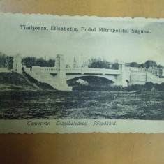 Timisoara Elisabetin Podul mitropolitului Saguna 1919 Temesvar Erzsebetvaros - Carte Postala Banat dupa 1918, Necirculata, Printata