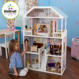 Casuta Savannah KidKraft Casa din lemn de joaca pentru papusi si fetite 4 etaje, Alb