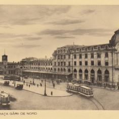 BUCURESTI, PIATA GARII DE NORD, TRAMVAI - Carte Postala Muntenia dupa 1918, Necirculata, Fotografie
