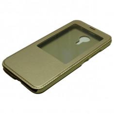 Husa Flip S-View Meizu MX5, PREMIUM CASE, GOLD - Husa Telefon