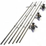 Set 3 Lansete FL Pokee F1 Carp 3.90M Cu Mulinete Ultra Long Cast 15 rulm