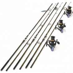 Set 3 Lansete FL Pokee F1 Carp 3.90M Cu Mulinete Ultra Long Cast 15 rulm - Lanseta, Lansete Crap