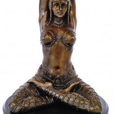 DANSATOARE ORIENTALA-STATUETA BRONZ PE UN SOCLU DIN MARMURA - sculptura reproducere, Nud
