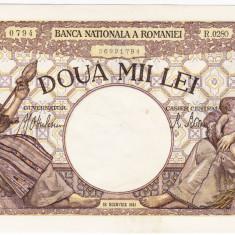 1)Bancnota 2000 lei 18 noiembrie 1941 filigran Traian a.UNC - Bancnota romaneasca