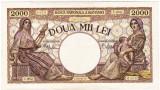 2)Bancnota 2000 lei 18 noiembrie 1941,filigran Traian,XF