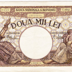 2)Bancnota 2000 lei 18 noiembrie 1941, filigran Traian, XF - Bancnota romaneasca