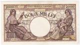 2)Bancnota 2000 lei 18 noiembrie 1941 filigran Traian a.UNC