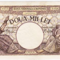 2)Bancnota 2000 lei 18 noiembrie 1941 filigran Traian a.UNC - Bancnota romaneasca