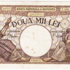 4)Bancnota 2000 lei 18 noiembrie 1941, filigran Traian, VF - Bancnota romaneasca