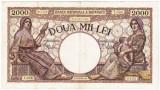 6)Bancnota 2000 lei 18 noiembrie 1941,filigran Traian,VF