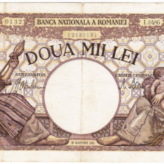 6)Bancnota 2000 lei 18 noiembrie 1941, filigran Traian, VF - Bancnota romaneasca