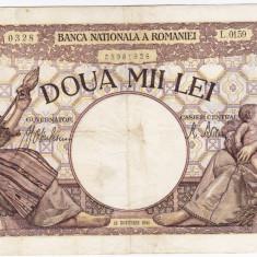4) Bancnota 2000 lei 18 noiembrie 1941, filigran Traian, VF - Bancnota romaneasca