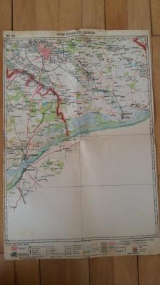 HARTA VECHE - BUCURESTI - GIURGIU - ANUL 1946 foto