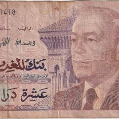 MAROC 10 dirhams 1987 U - bancnota africa