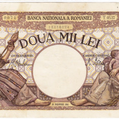 4)Bancnota 2000 lei 18 noiembrie 1941, filigran Traian, XF - Bancnota romaneasca