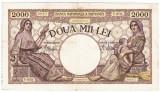 5)Bancnota 2000 lei 18 noiembrie 1941,filigran Traian,VF