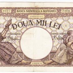 5)Bancnota 2000 lei 18 noiembrie 1941, filigran Traian, VF - Bancnota romaneasca