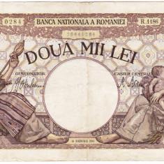 3) Bancnota 2000 lei 18 noiembrie 1941, filigran Traian, VF - Bancnota romaneasca