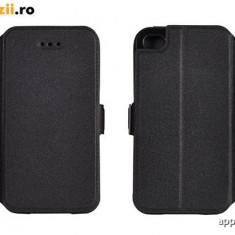 Husa Huawei Ascend Y5 Y560 Flip Case Inchidere Magnetica Black, Alt model telefon Huawei, Negru, Piele Ecologica