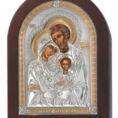 Sfanta Familie, Icoana din Argint, Aur si Color, 4.5x6.5cm