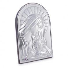 Maica Domnului si Iisus, Lucrata pe Foita de Argint 925, 11.5x17cm