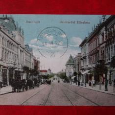 Carte Postala - Bucuresti - Bulevardul Elisabeta - Carte Postala Banat dupa 1918, Circulata, Printata