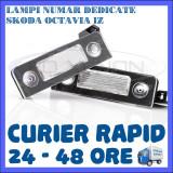 SET LAMPI DEDICATE SKODA OCTAVIA 2 - 18 LEDURI - PLACUTA NUMAR INMATRICULARE, Universal, ZDM