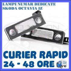 SET LAMPI DEDICATE SKODA OCTAVIA 2 - 18 LEDURI - PLACUTA NUMAR INMATRICULARE
