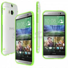 Bumper husa silicon transparent margine verde HTC ONE 2 M8 + folie protectie