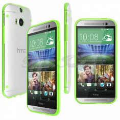 Bumper husa silicon transparent margine verde HTC ONE 2 M8 + folie protectie, Alt model telefon HTC