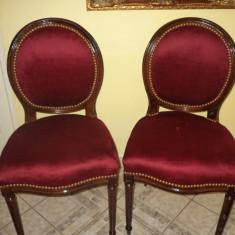 Set de 2 superbe scaune in stilul Ludovic din lemn de mahon