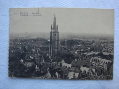 Carte postala circulata la 23.08.1928 - Panorama BRUGES foto
