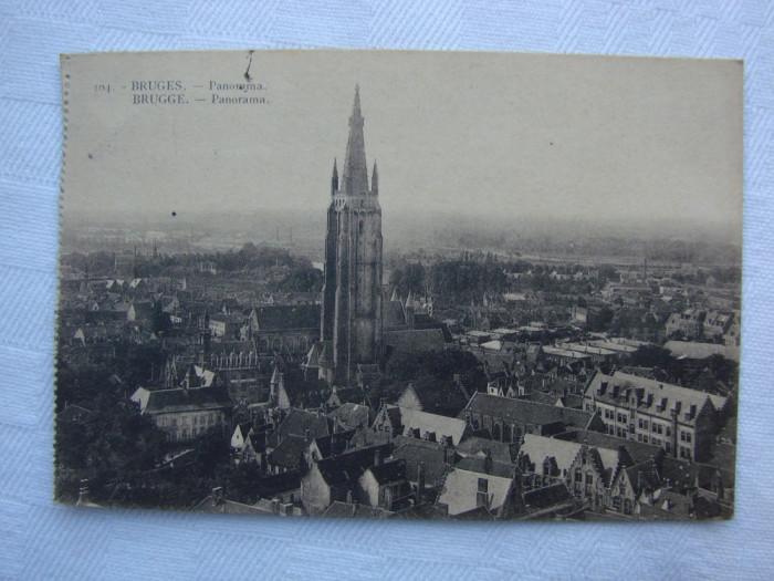 Carte postala circulata la 23.08.1928 - Panorama BRUGES