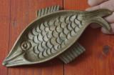 Scrumiera masiva din bronz - model deosebit in forma de peste !!!