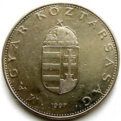UNGARIA, 10 FORINT 1997, STEMA REGATULUI, DIAMETRU 25mm., Europa, Crom